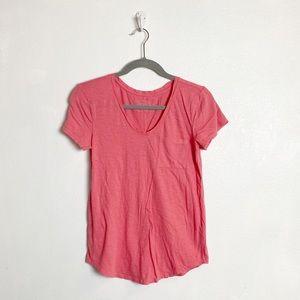 Loft vintage wash coral pink short sleeve tee
